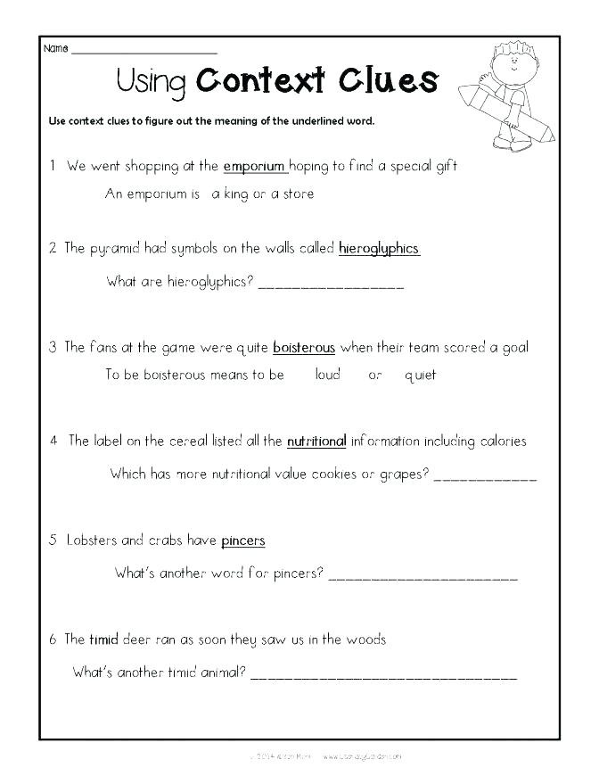 Context Clues Worksheets 1st Grade Context Clues Worksheets 1st Grade Grade Reading Worksheet