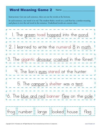 Context Clues Worksheets 1st Grade Context Clues Worksheets for 1st Grade