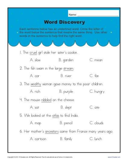 Context Clues Worksheets 1st Grade Context Clues Worksheets for 2nd Grade