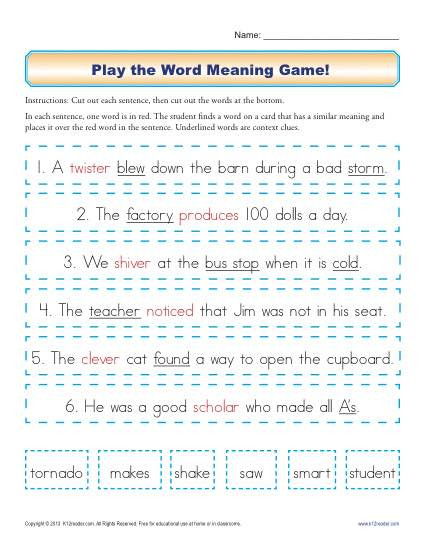 Context Clues Worksheets 1st Grade Play the Word Meaning Game Context Clues Worksheets for 2nd
