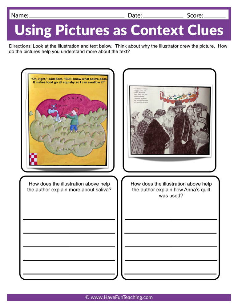 Context Clues Worksheets 1st Grade Using as Context Clues Worksheet