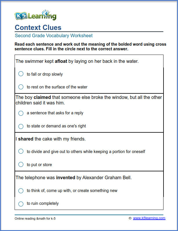 Context Clues Worksheets Grade 5 2nd Grade Vocabulary Worksheets – Printable and organized by
