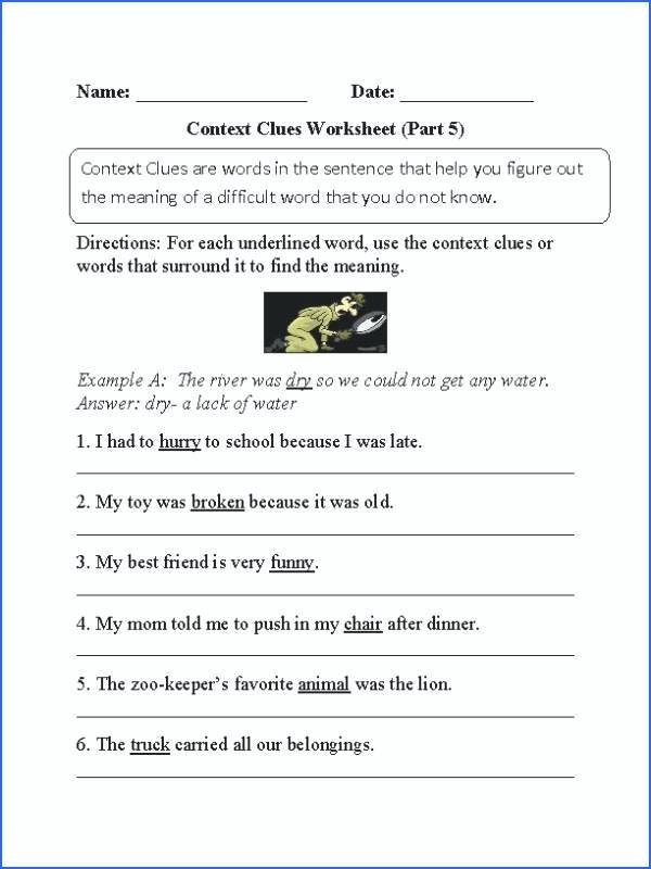 Context Clues Worksheets Grade 5 38 Interesting Context Clues Worksheets