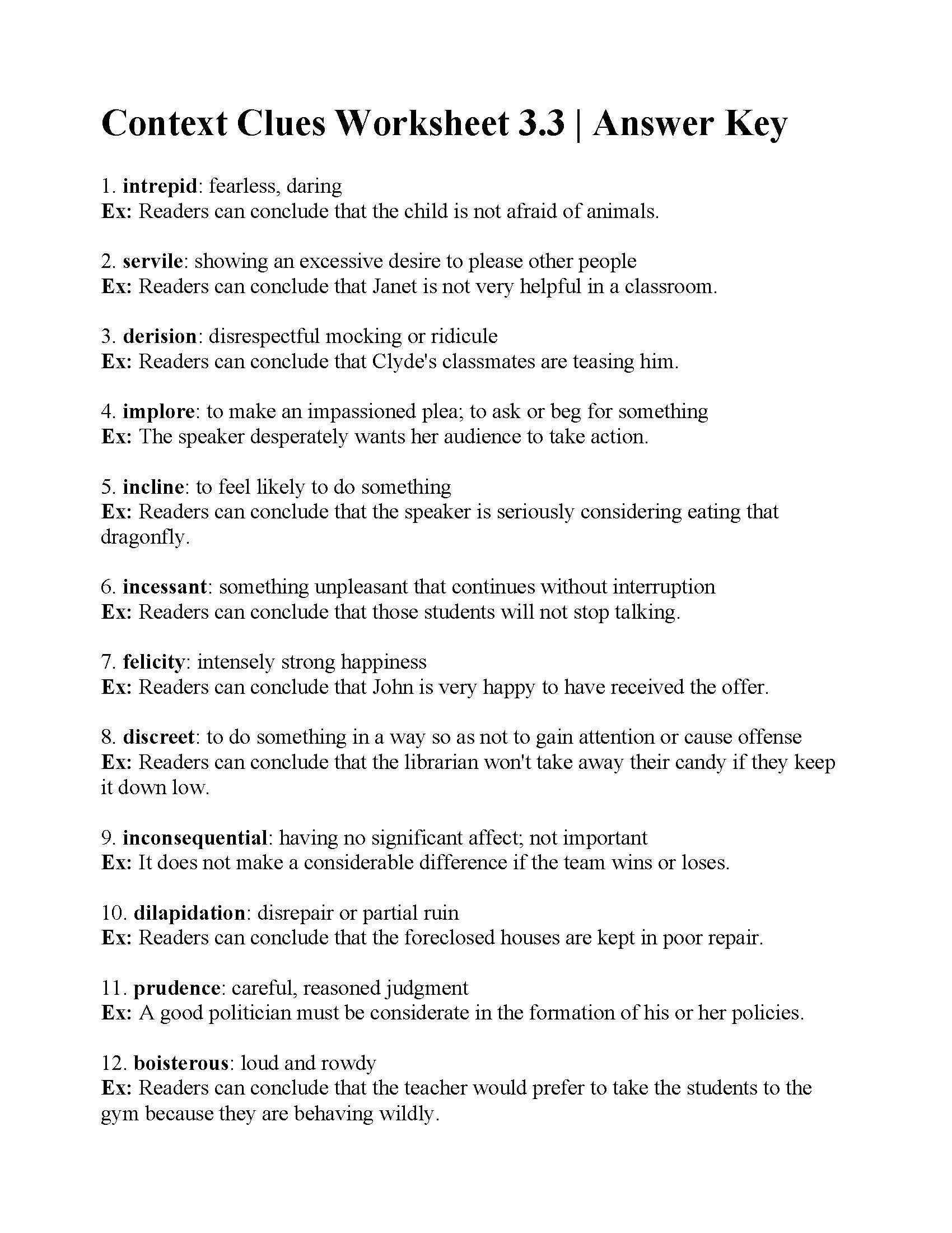 Context Clues Worksheets Grade 5 Context Clues Worksheet 3 3