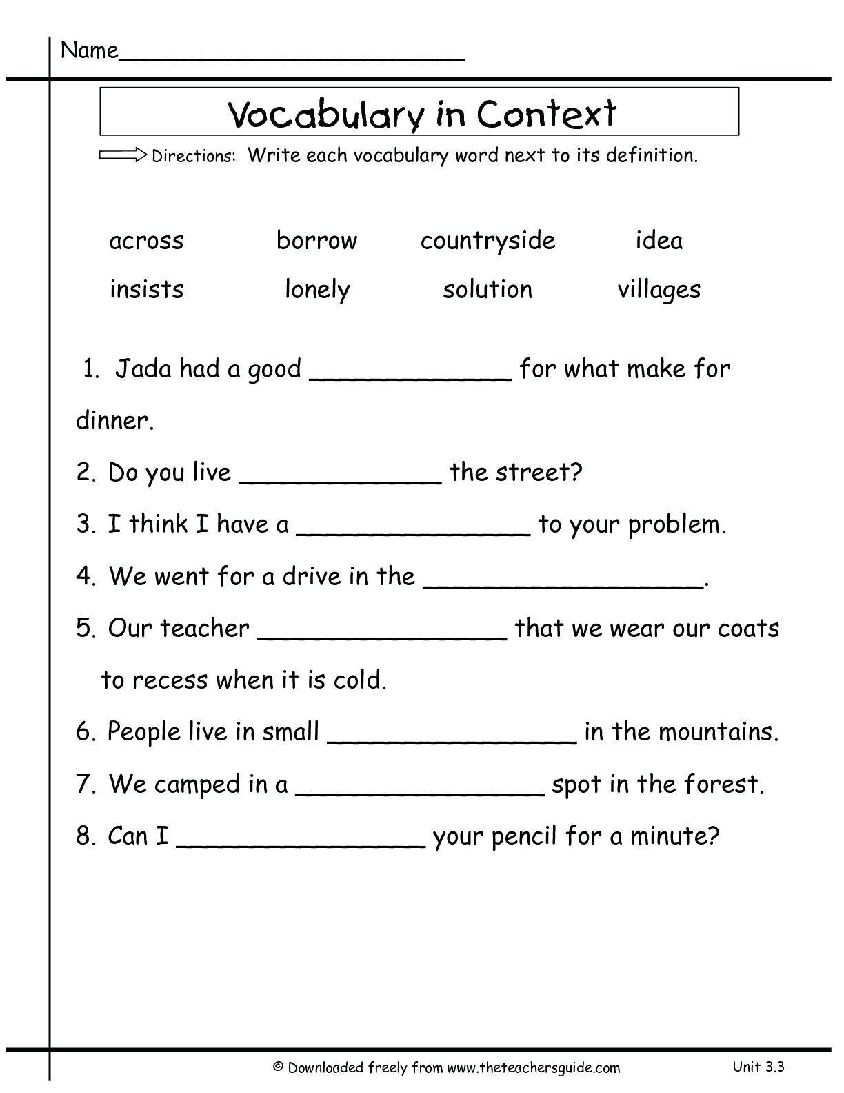 Context Clues Worksheets Second Grade 3rd Grade Context Clues Using Context Clues Worksheets Grass