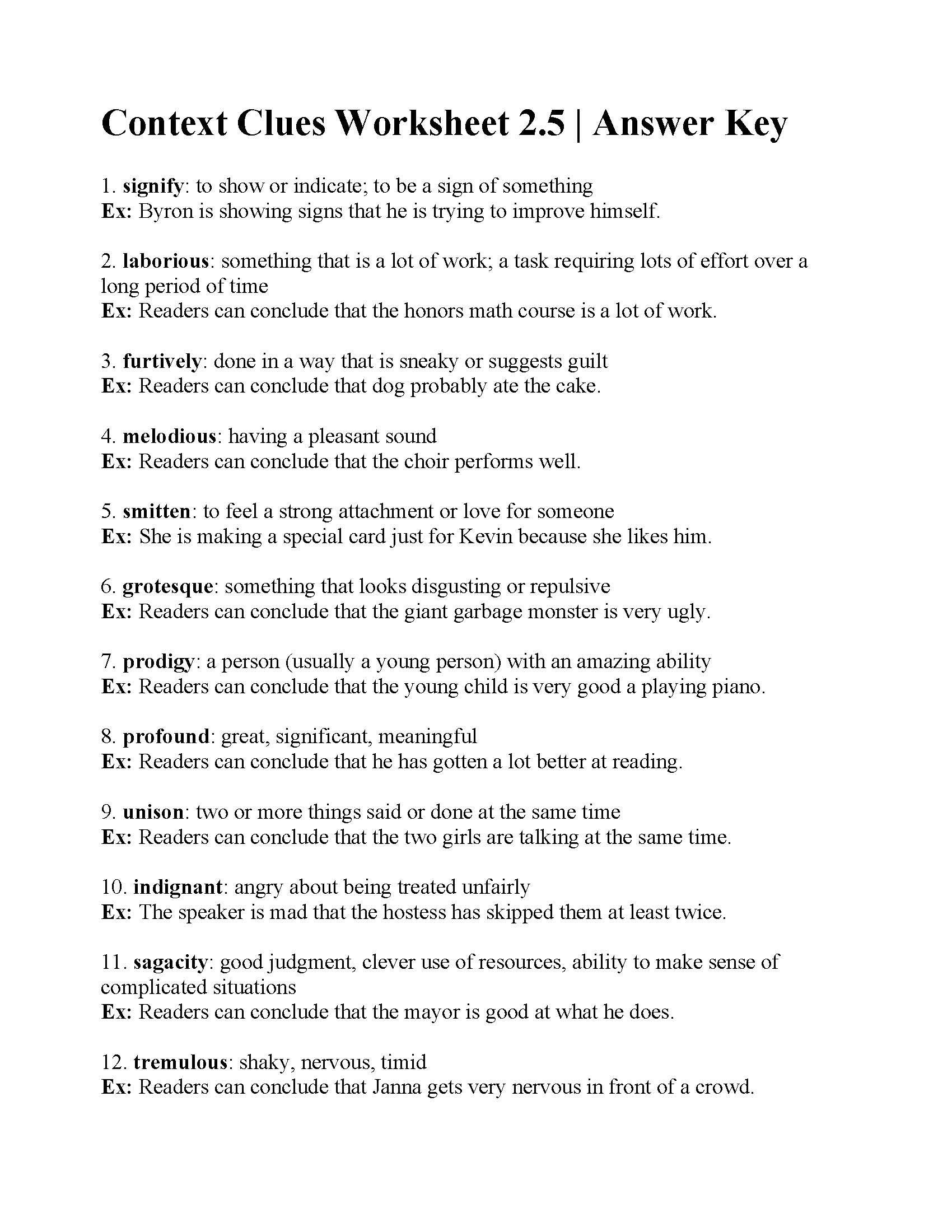 Context Clues Worksheets Second Grade Context Clues English Worksheet