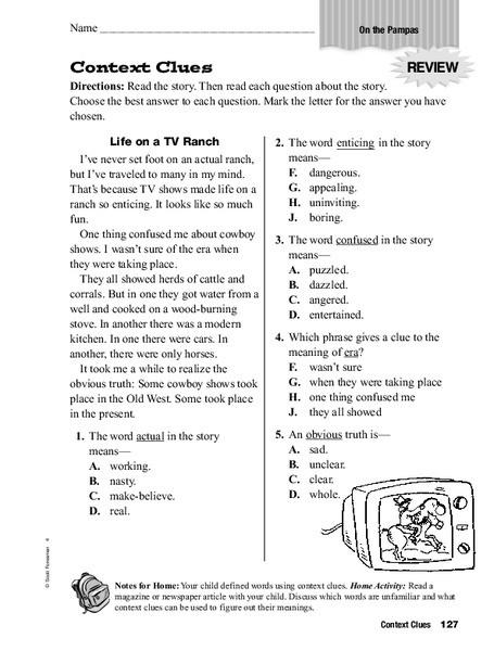 Context Clues Worksheets Second Grade Context Clues Worksheet for 2nd 3rd Grade