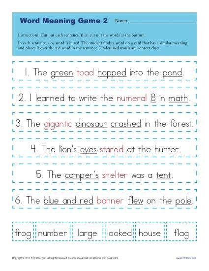 Context Clues Worksheets Second Grade Context Clues Worksheets for 1st Grade