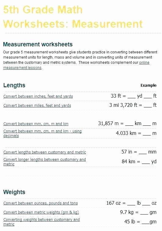 Conversion Worksheets 5th Grade Math Conversion Worksheets 5th Grade Measurements Worksheets