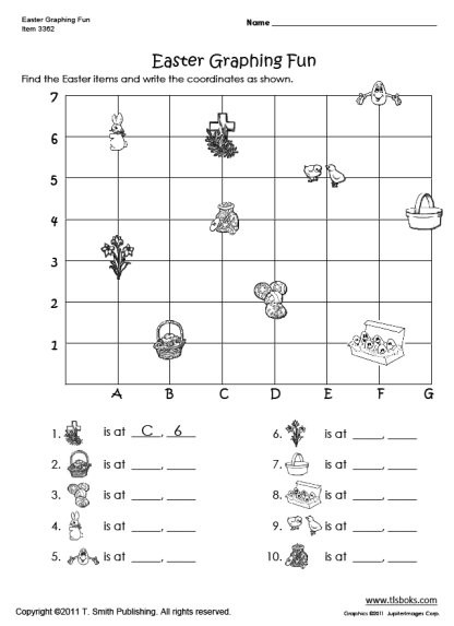 Coordinate Grid Pictures 5th Grade Easter Graphing Worksheet