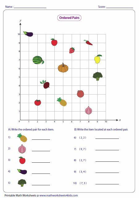Coordinate Grid Worksheet 5th Grade ordered Pairs and Coordinate Plane Worksheets with Images