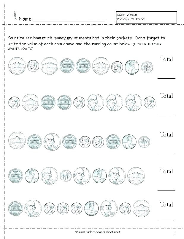 Counting Coins Worksheets First Grade Count Money Worksheet Grade Money Worksheets First Grade