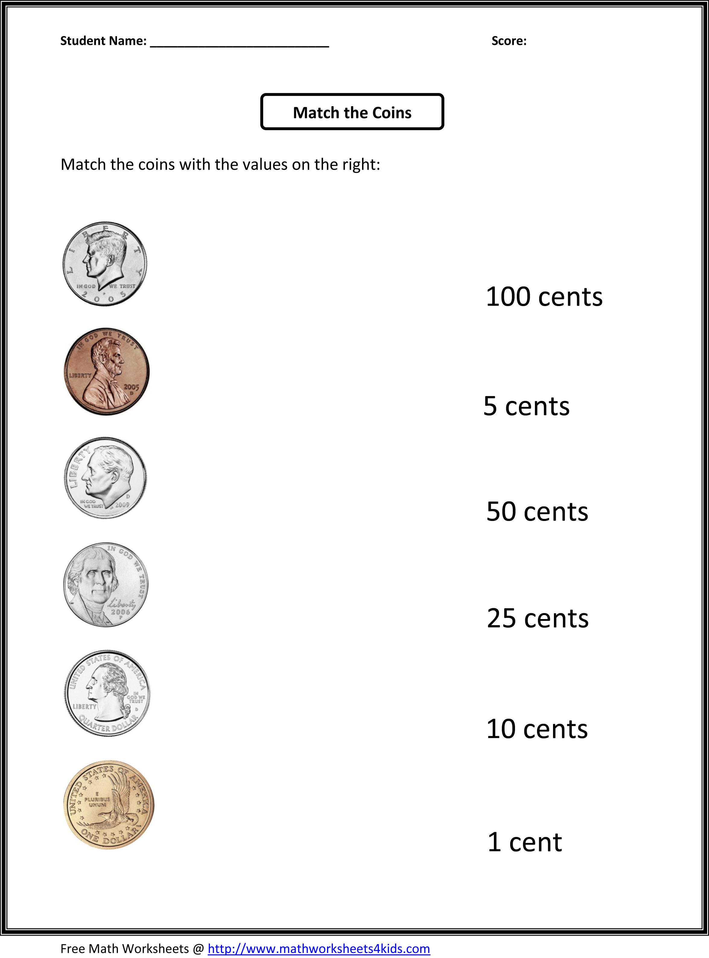 Counting Coins Worksheets First Grade Free 1st Grade Worksheets