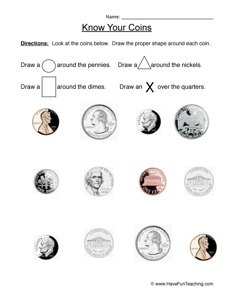 Counting Coins Worksheets First Grade Identifying Coins Worksheet