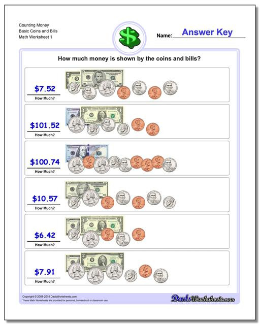 Counting Coins Worksheets First Grade Money Coin Worksheets First Grade Counting Basic Coins and