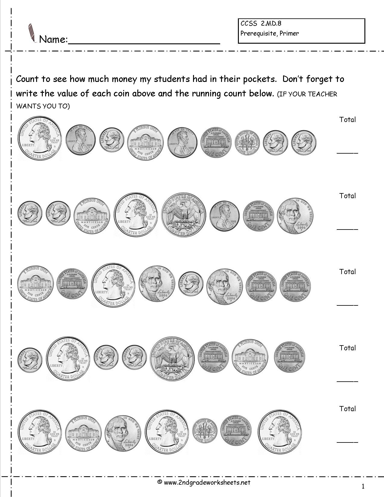 Counting Coins Worksheets First Grade Money Lessons Tes Teach