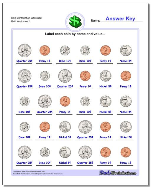Counting Coins Worksheets First Grade Money