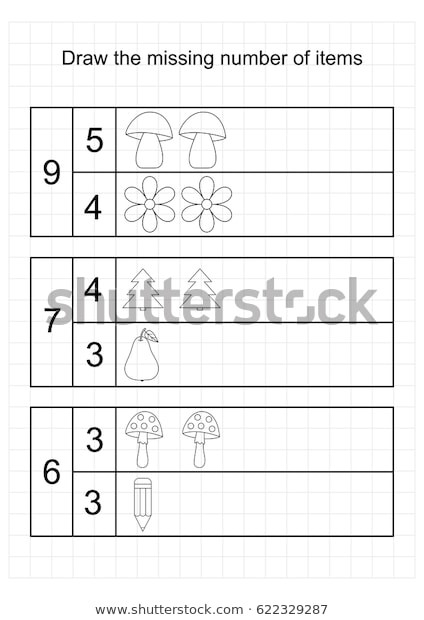 Counting Worksheets Preschool A4 Worksheet Preschool Kidstasks Addition Counting เวกเตอร์ส