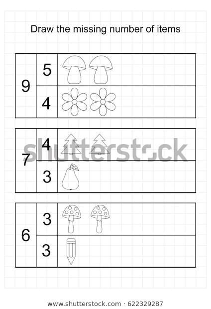 Counting Worksheets Preschool A4 Worksheet Preschool Kidstasks Addition Counting เวกเตอร์ส
