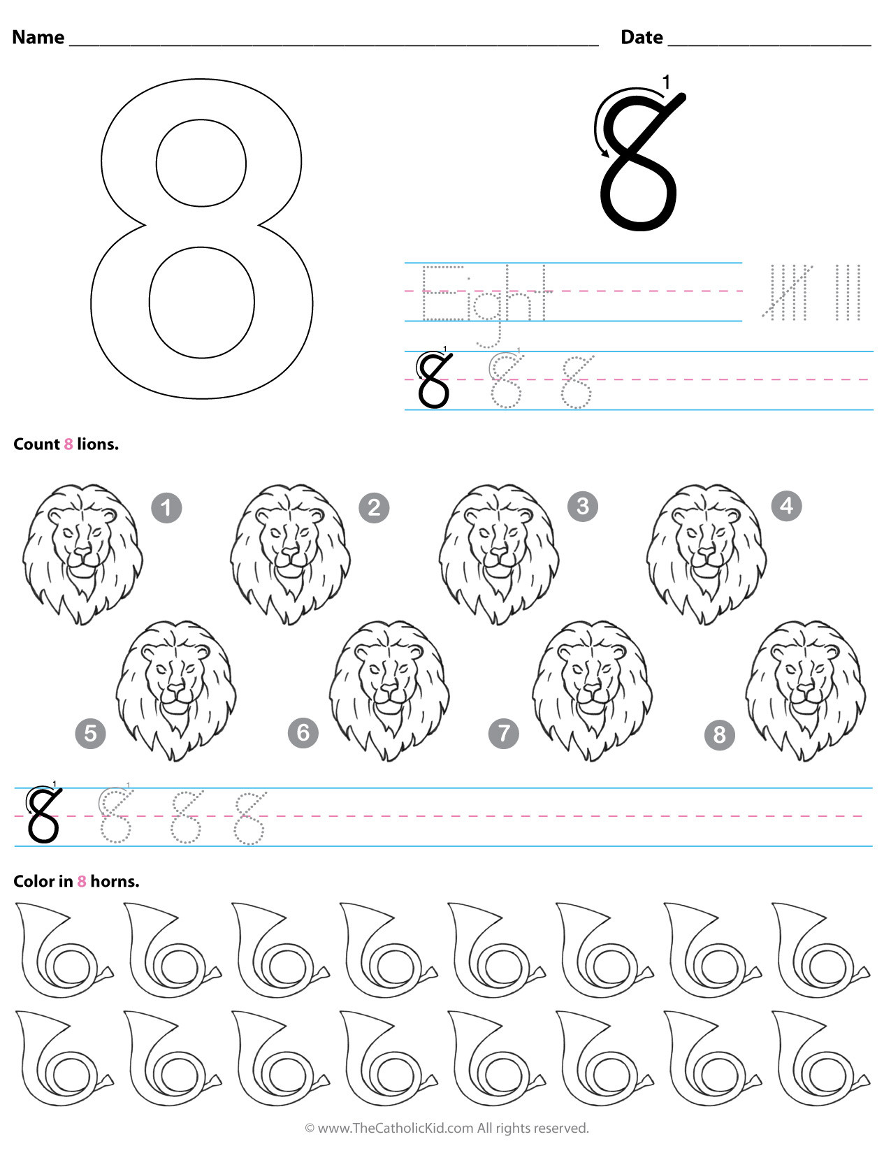 Counting Worksheets Preschool Catholic Number 8 Worksheet Preschool Kindergarten Coloring