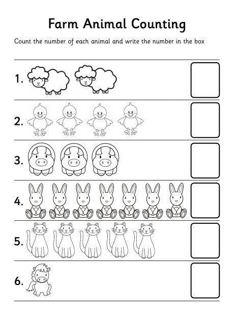 Counting Worksheets Preschool Farm Animal Counting Worksheet