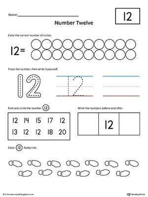 Counting Worksheets Preschool Number 12 Practice Worksheet