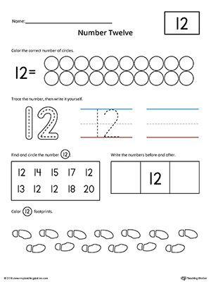 Counting Worksheets Preschool Number 12 Practice Worksheet