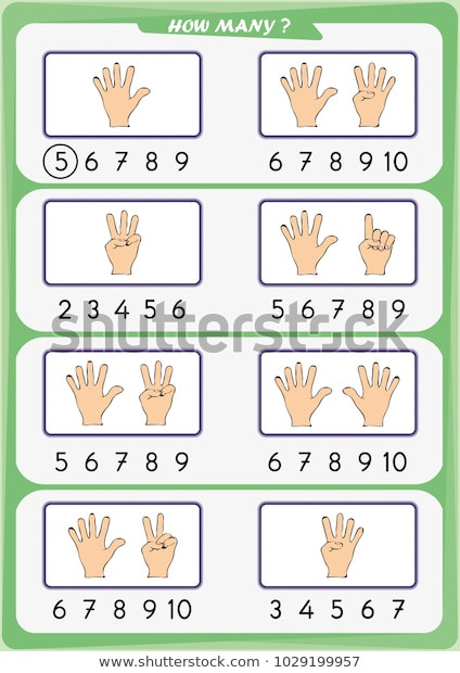 Counting Worksheets Preschool Worksheet Preschool Children Count Number Objects เวกเตอร์ส