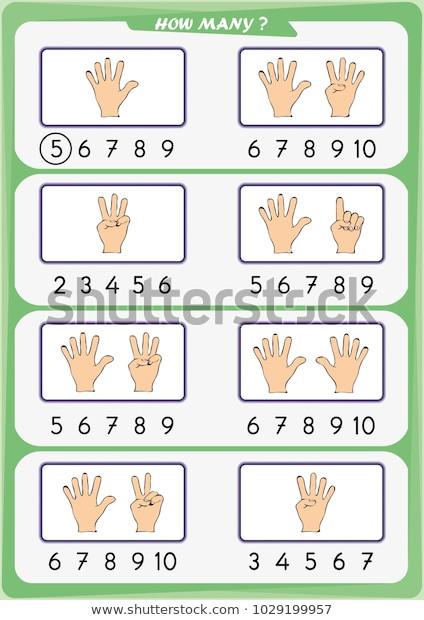 Counting Worksheets Preschool Worksheet Preschool Children Count Number Objects เวกเตอร์ส