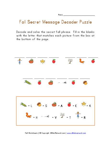 Decoding Worksheets for 1st Grade Fall Secret Message Decoder Puzzle Worksheet for