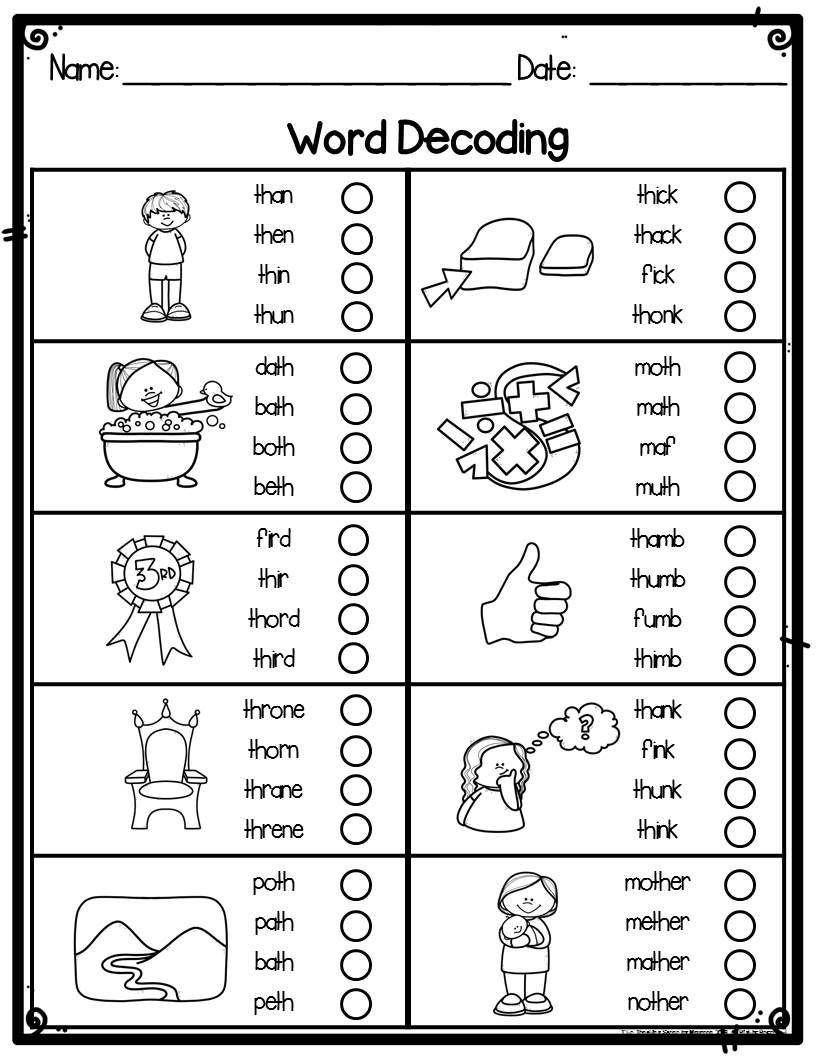 Decoding Worksheets for 1st Grade Kindergarten Word Decoding Practice Worksheets & assessments