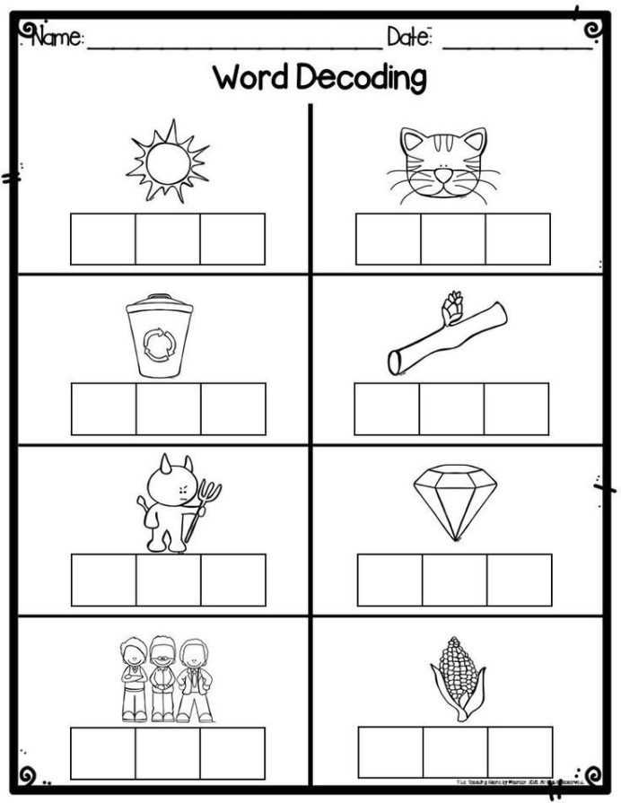 Decoding Worksheets for 1st Grade Kindergarten Word Decoding Practice Worksheets assessments