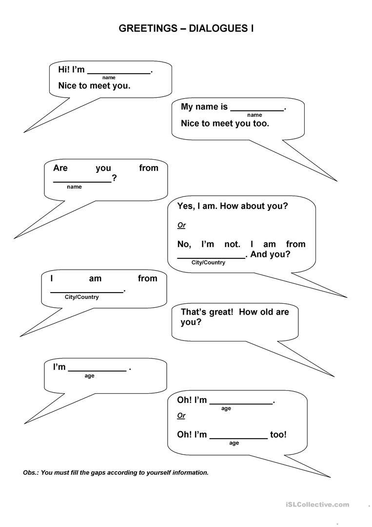 Dialogue Worksheets 3rd Grade Greetings Dialogues