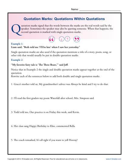 Dialogue Worksheets 3rd Grade Quotation Marks Quotations within Grammar Worksheets First