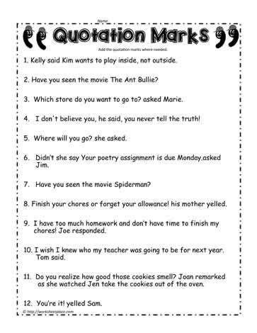 Dialogue Worksheets 3rd Grade Quotation Marks Worksheet 1 Worksheets