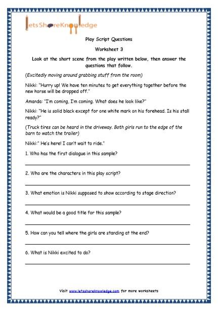 Dialogue Worksheets 4th Grade Grade 4 English Resources Printable Worksheets topic Play