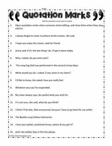 Dialogue Worksheets 4th Grade Quotation Mark Worksheet Worksheets
