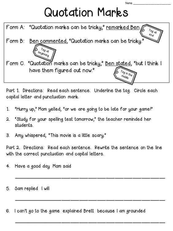 Dialogue Worksheets 4th Grade Quotation Marks Anchor Chart with Freebie