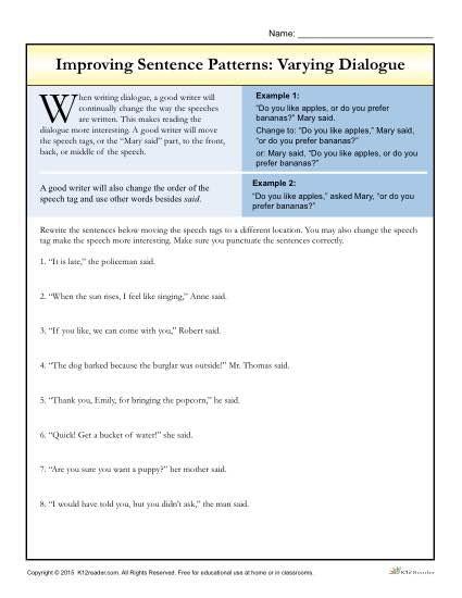 Dialogue Worksheets 4th Grade Sentence Patterns Varying Dialogue