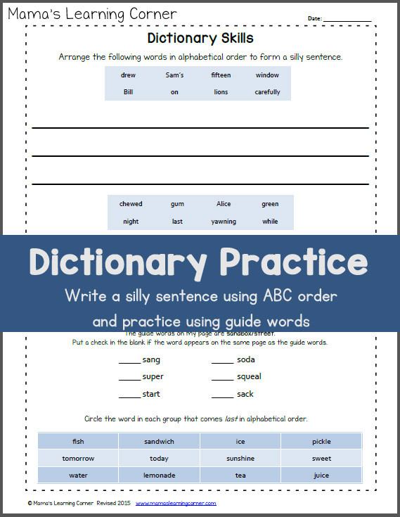 Dictionary Skill Worksheets 3rd Grade Dictionary Skills Practice Worksheet Mamas Learning Corner
