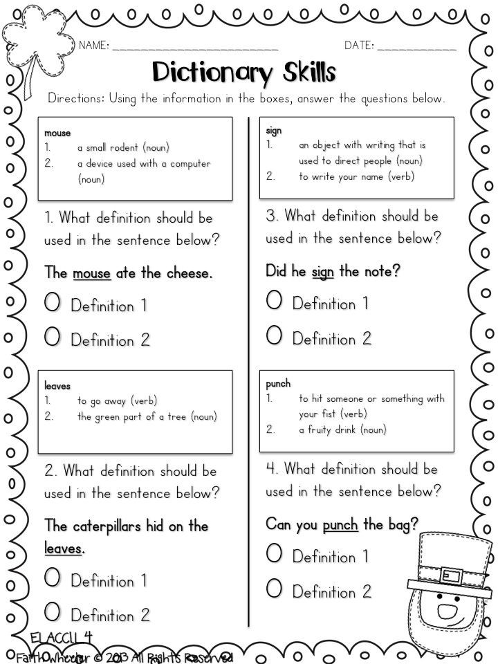 Dictionary Skill Worksheets 3rd Grade Five for Friday I Mean Saturday