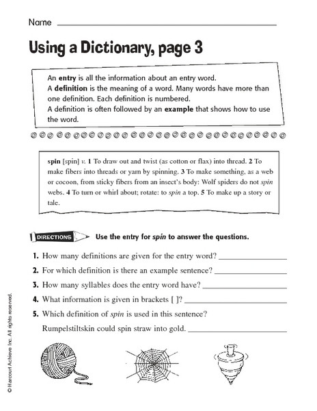 Dictionary Skill Worksheets 3rd Grade Sample Dictionary Entries Lesson Plans & Worksheets