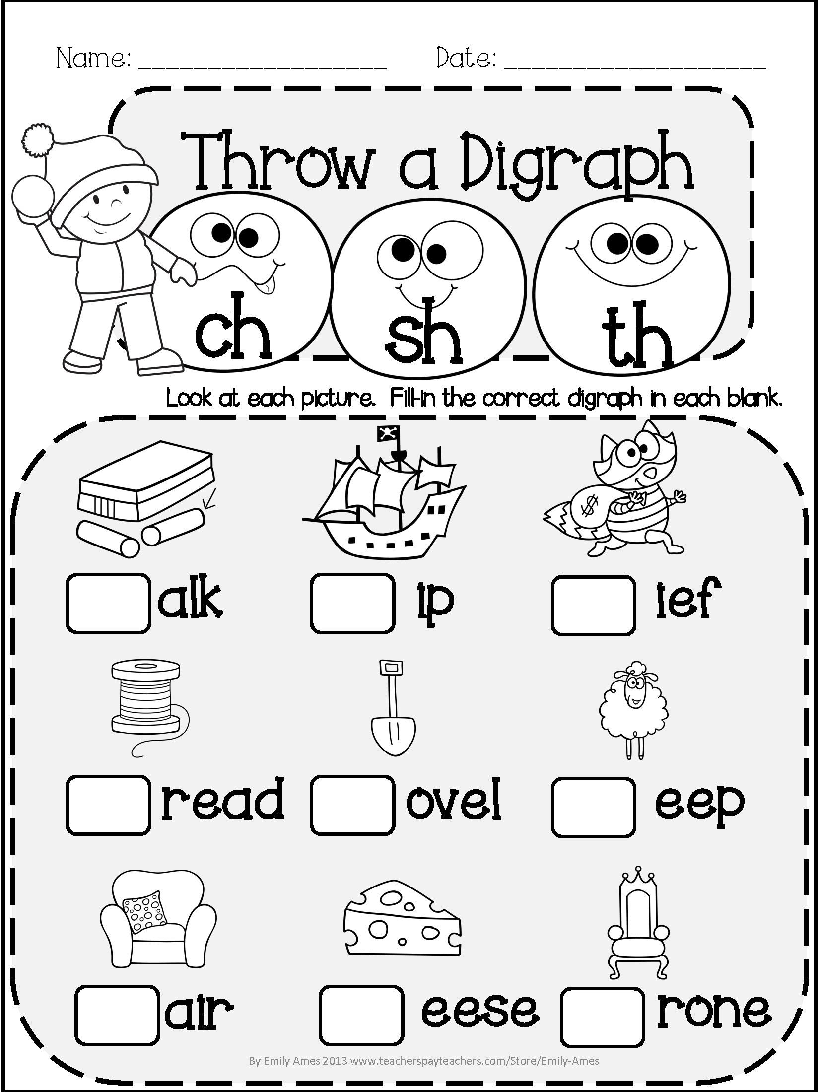 Digraph Worksheets for First Grade Winter Literacy Fun Short & Long Vowels Digraphs and