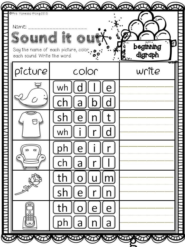 Digraph Worksheets for First Grade Winter Math and Literacy No Prep Printables First Grade