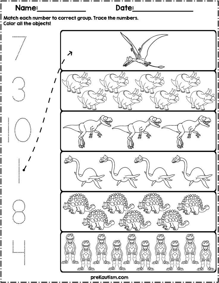 Dinosaur Worksheets for Preschoolers Count and Match Dinosaurs