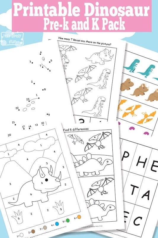 Dinosaur Worksheets for Preschoolers Dinosaur Printable Preschool and Kindergarten Pack Itsy