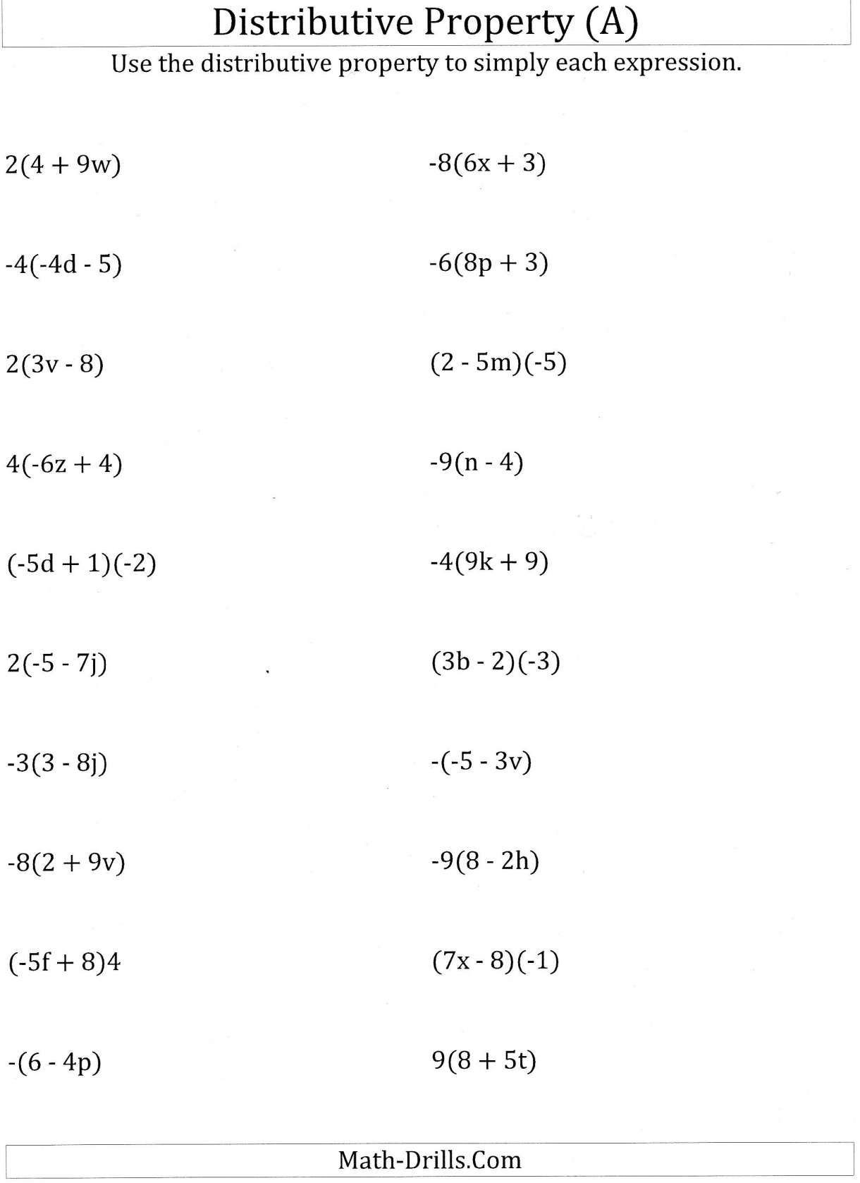 Distributive Property Worksheet 6th Grade 9 6th Grade Math Algebra Properties Worksheet Math