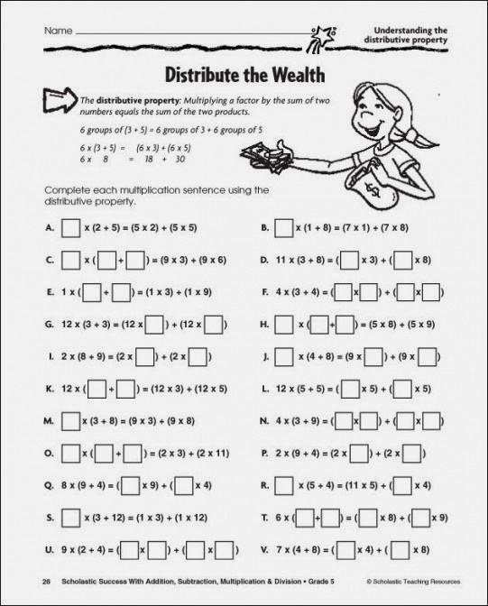 Distributive Property Worksheet 6th Grade Distributive Property Multiplication Worksheets & Properties