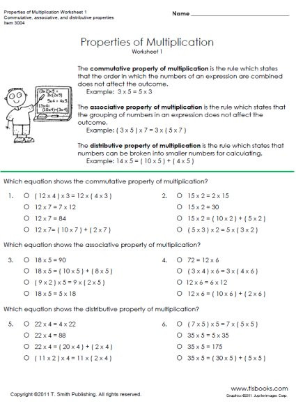 Distributive Property Worksheet 6th Grade Properties Of Multiplication
