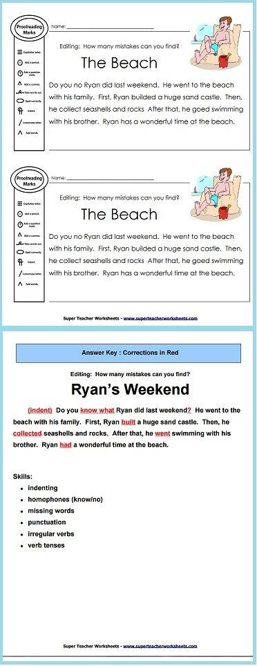 Editing Worksheet 3rd Grade Practice Proofreading Skills with This Editing Worksheet and